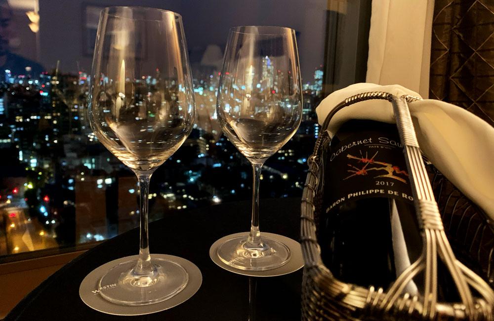 ウェスティンホテル東京でいただいたワインボトル